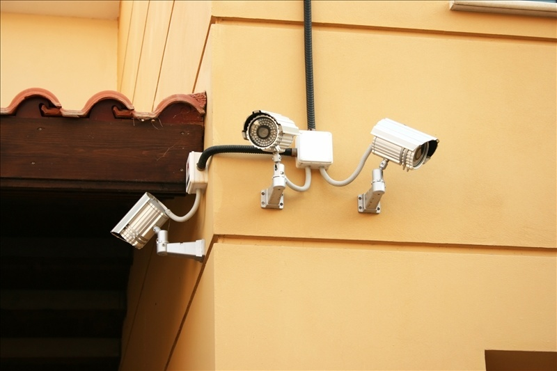 Wall Mounted External Security Cameras Accessible Through